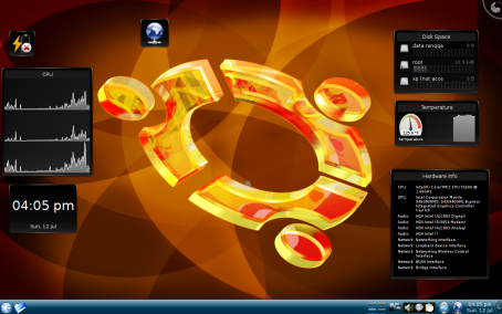 inilah Kubuntu, tidak seperti Ubuntu yang harus donlot screenlet. di Kubuntu udah built in gadget