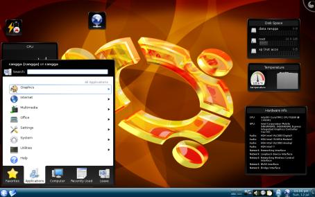 ini menunya mirip banget sama windows, ada fitur searchnya, bedanya windows dibawah, ini diatas