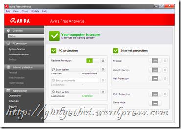 Avira Free Antivirus 2012 look